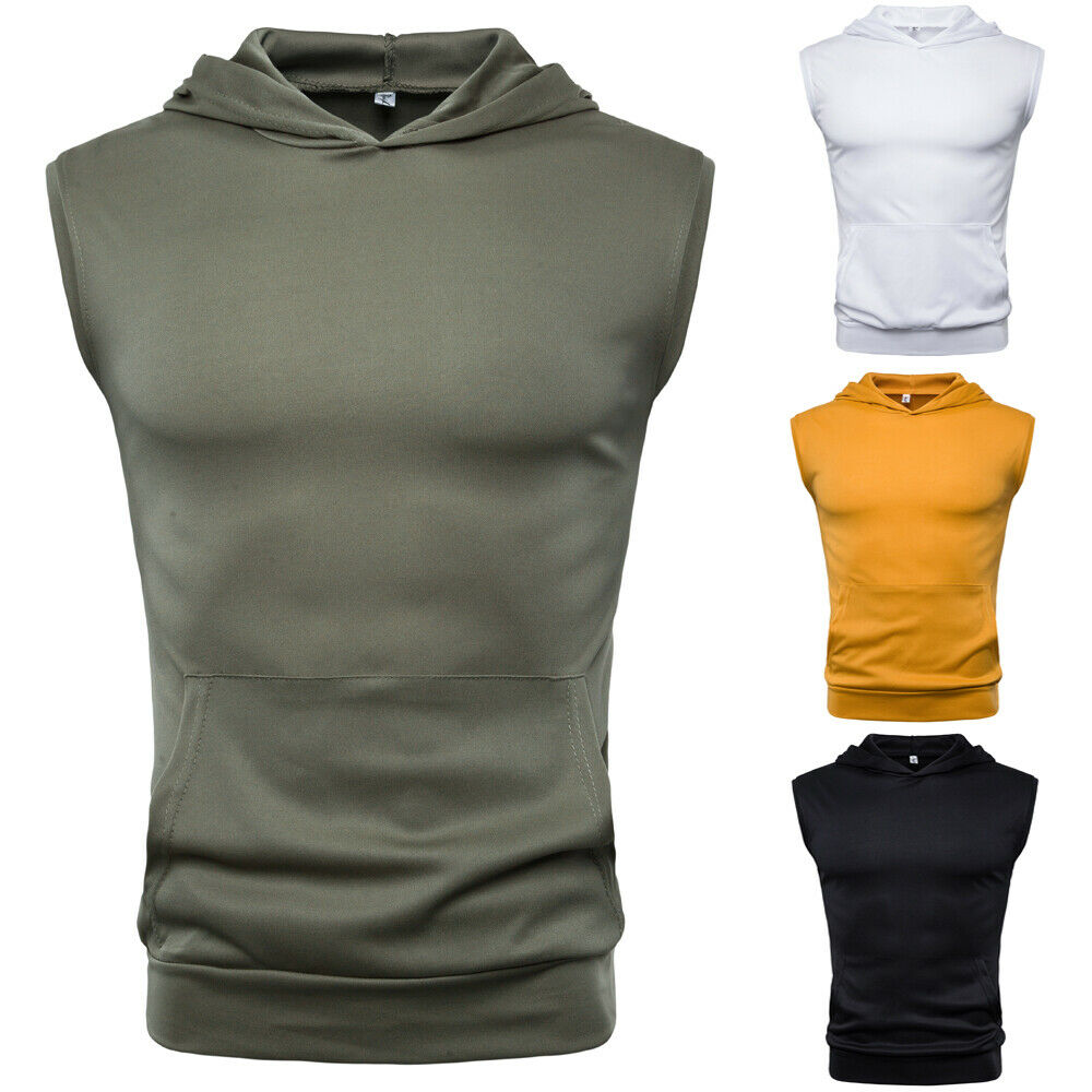 New US Mens Muscle Hoodie Top Tees  Bodybuilding Gym Workout Sleeveless Vest T-shirt Men Fashion