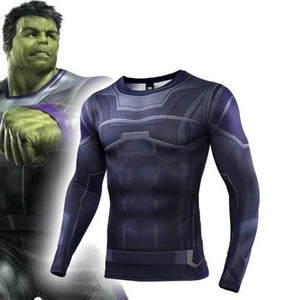 The Hulk End Game Cosplay Costume Premium 3D Printed Costume Compression T-shirt Finess Gym Quick-Drying Tight Tops