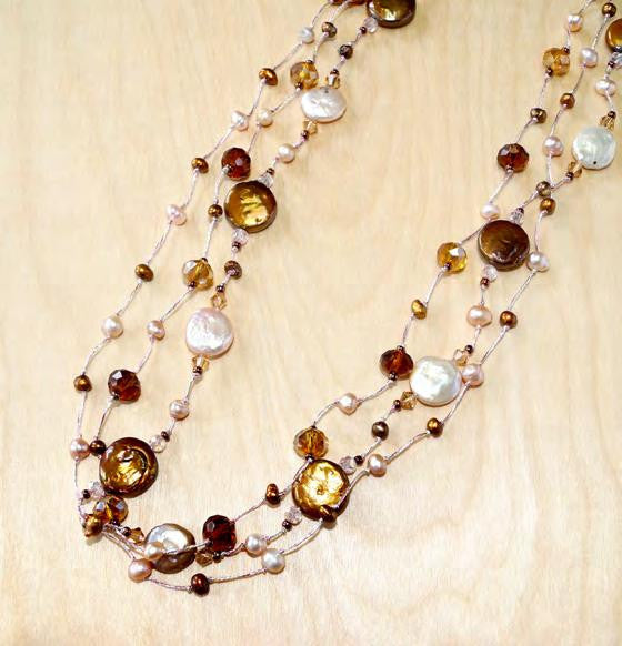 "Pink mix coin pearl with crystal 30"" necklace"