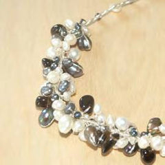 Half circle cluster with black and white pearl, black agate and crystal necklace