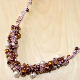 Pink & Brown Mixed Pearl Necklace with Crystal Accents