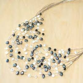 Maxi-cascade crystal with white + black pearl necklace