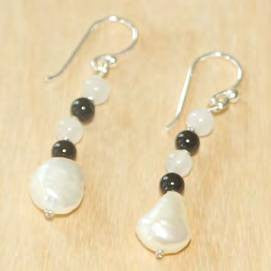 Oval White and Black Pearl Drop Earrings with Crystal Accents