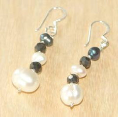 White and black pearl and crystal earrings