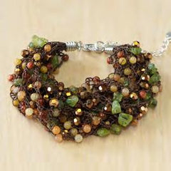 Brown and Green Bracelet with Agate, Pearl and Crystal
