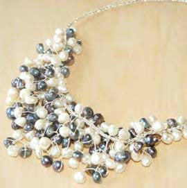 "Black and white pearl ""bib"" necklace"