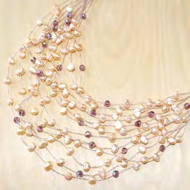Maxi-cascade crystal w/ pearl necklace - pink