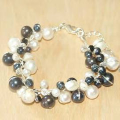 Black and White Pearl Bracelet with Crystal Accents