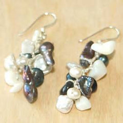 Mini Black and White Pearl Cluster Earring