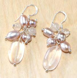 Pink Quartz With Pearl Dangle Earrings