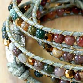 Earthy Wrap Bracelet with Gems and Dyed Leather
