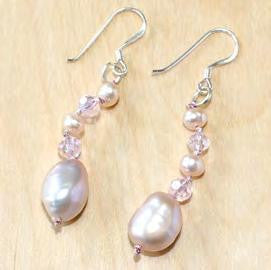 Oval Pink Pearl Dangle Earrings With Crystal Accents