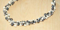 White and black pearl and crystal necklace