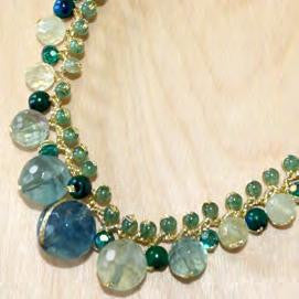 Jade, aventurine and turquoise graduated necklace