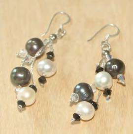 Black and White Pearl Drop Earrings