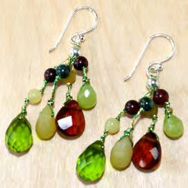 Green Jade Dangle Earrings with Crystal Accents