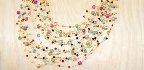 Maxi-cascade crystal, gem and pearl necklace - multi color