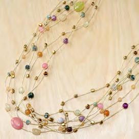 Multi Strands With Agate, Jade Crystal, And Silver Metal Beads