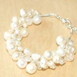 White Pearl Cluster Braclet with Crystal Accents