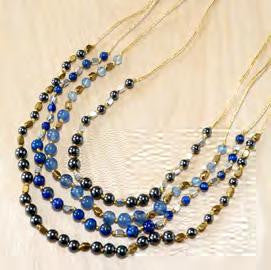 Blue jade, hematite, dark blue agate necklace