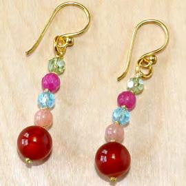 Multi stone and crystal with carnelian jade earrings