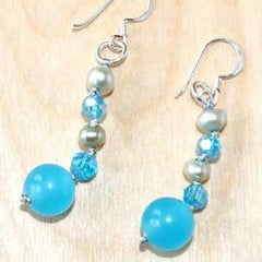 Blue quartz, pearl and crystal earring