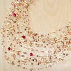 Maxi-cascade crystal, gem and pearl necklace - tourmaline