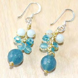 Aquamarine and aventurine earring