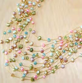 Maxi-cascade multi color pearl necklace