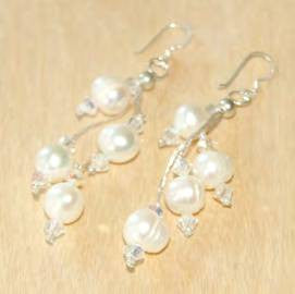 Large White Pearl Cluster Dangle Earrings