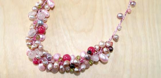Half circle cluster necklace with peridot, garnet, rose quartz, cherry quartz and pearl