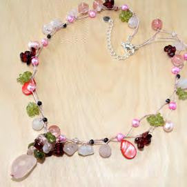 Rose Quartz Necklace with Peridot & Pearl Accents