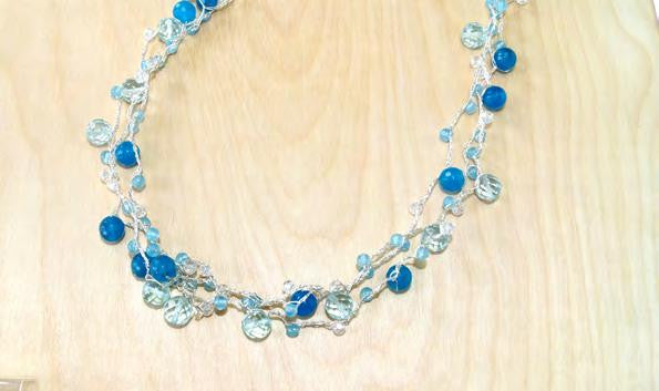 N00319/B1 - Blue quartz, blue jade and crystal 3 strand necklace