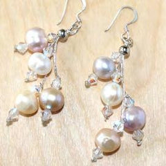 Large mixed pink pearl cluster drop earrings