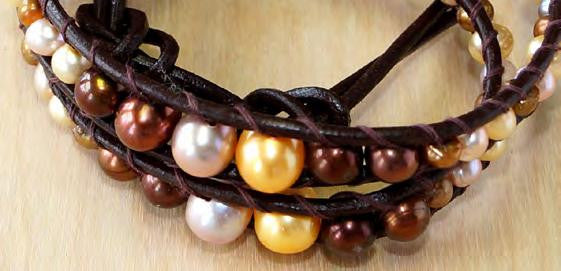 Brown mix pearl wrap bracelet 13''