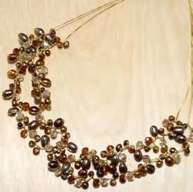 Brown mix pearl, tiger eye and crystal necklace