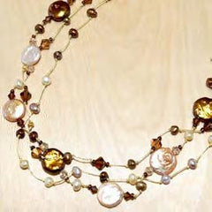Three strand brown mix coin pearl with crystal necklace