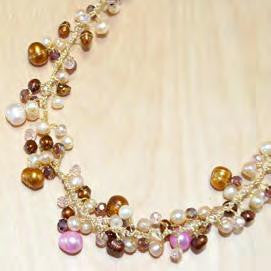 N0315/MIX - Brown mix pearl with crystal satellite necklace