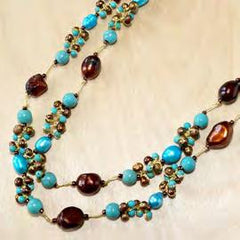 Turquoise with pearl double strand necklace