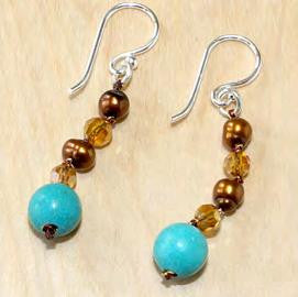 Turquoise with brown pearl and crystal earrings