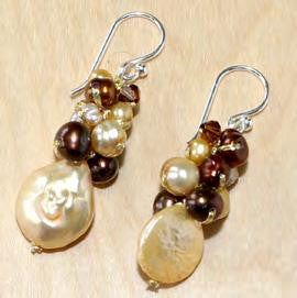 Brown Pearl Drop Earrings