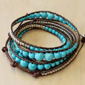 Turquoise with sterling wrap bracelet 34""