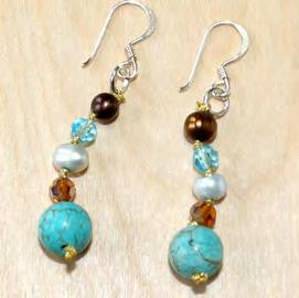 Turquoise with brown FWP and crystal earrings