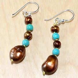 Oval Brown and Blue Drop Earrings Accented with Pearl and Crystal