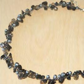 Three Strand Black Agate, Pearl and Crystal Necklace