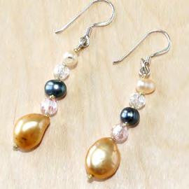 Oval brown mix pearl with crystal drop earrings