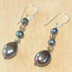Oval Black Pearl Drop Earrings with Crystal Accents