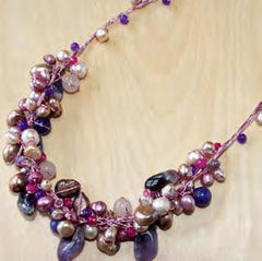 Half circle cluster w/ amethyst, rose quartz, jade and pearl necklace