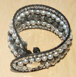 Soft Gray Bracelet with Pearl, Crystal, and Labradorite
