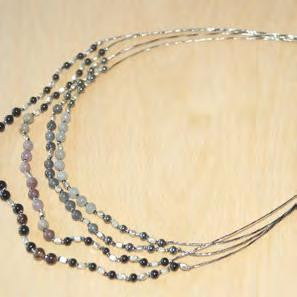 Black agate, labradorite, gray agate necklace